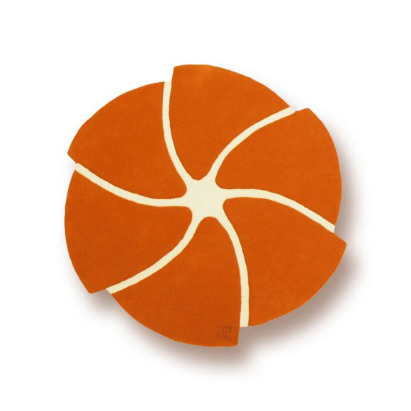 helicoide, tapis-rond, orange, simple