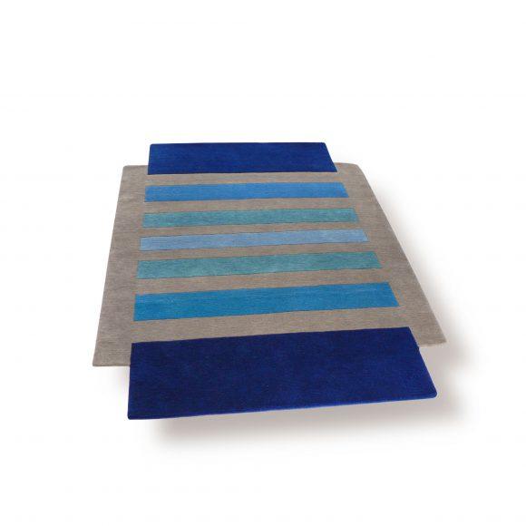 entrelacs, tapis-bleu, gris, tufte, aubusson, contemporain