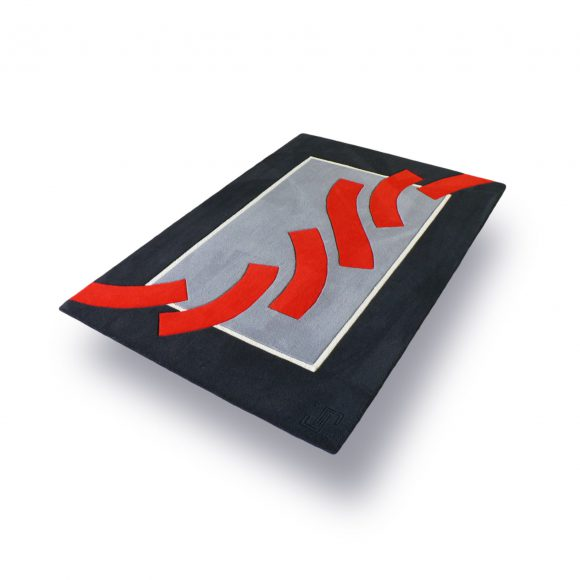 errance, tapis rectange, formes, gris, rouge, noir