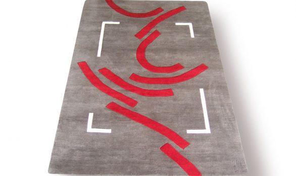 sur-un-air-de-danse, tapis graphique, rouge, gris