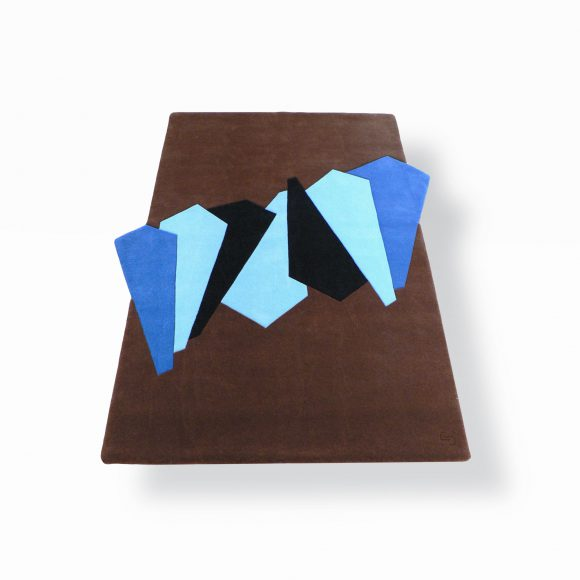 traverses, tapis geometrique, rectange, brun, marron, bleu