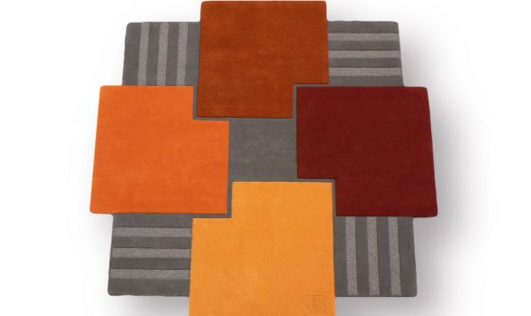 La-ronde-des-carres, tapis moderne, carré, orange, gris