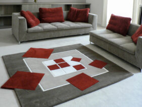 tapis design, ce carré ne tourne pas rond, gris, rouge, tapis carré, salon