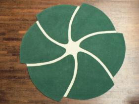 helicoide, vert, tapis-rond, aubusson, jory pradelle