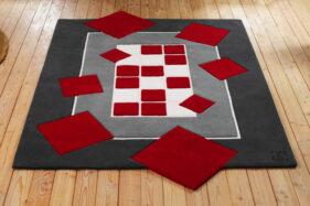 tapis création, rectangle, rectangulaire, rouge, gris, blanc, tufté, Aubusson