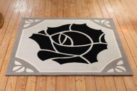 tapis art-deco, gris, noir, Rose-noire, tufté