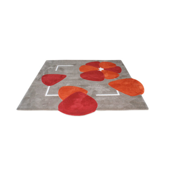 tapis motif floral rouge orange gris carré