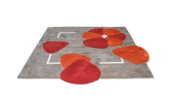 tapis motif floral rouge orange gris carré