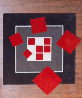 ce-carre-ne-tourne-pas-rond, tapis carre, noir, rouge, design