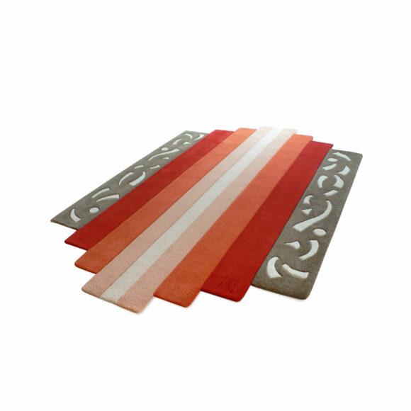 tapis orange géométrique art déco