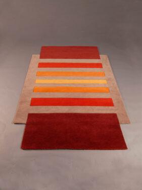 entrelacs, tapis-original, rectangle, degradé, orange, gris