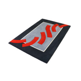 tapis noir gris rouge rectangle