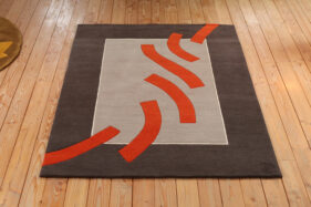 Errance, tapis rectangle, gris, orange