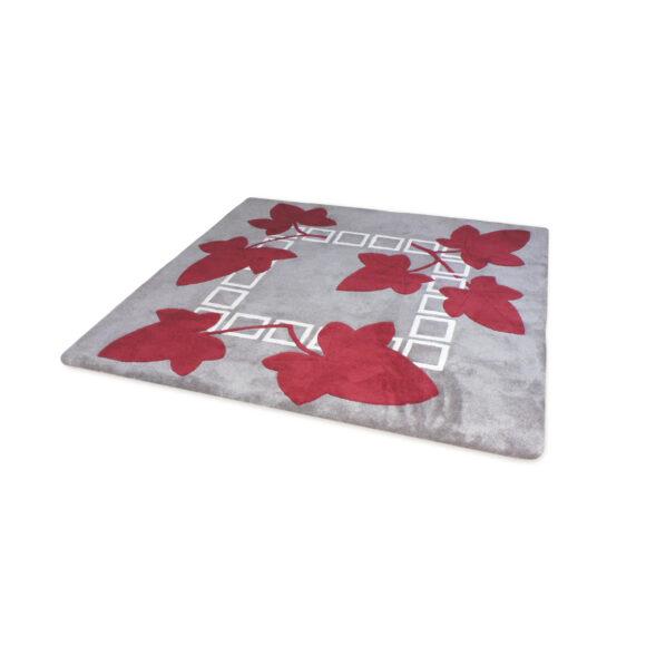 tapis motif végétal rouge et gris