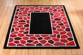 mozaic, tapis contemporain, couleur, rouge, noir