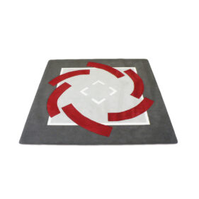 tapis architecte carré rouge gris