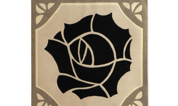 tapis art-déco art-nouveau rose noire
