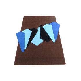 tapis géométrique forme bleu brun marron