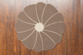 spirit-flower, tapis laine bizet, rond, beige, naturel, ethique