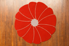 spirit-flower, tapis moderne, contemporain, rond, orange, gris