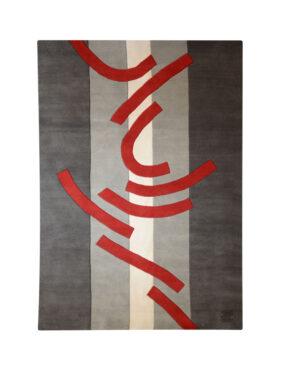 tapis graphique gris et rouge