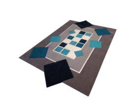 tapis rectangle géométrique bleu et gris