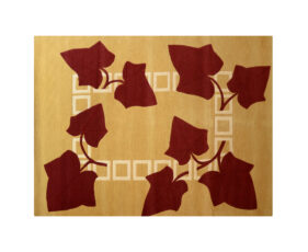 tapis rectangle lierre floral jaune rouge ocre