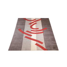 tapis géométrique gris rouge