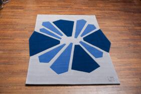 tapis contemporain design bleu gris