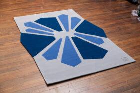 tapis moderne bleu gris laine